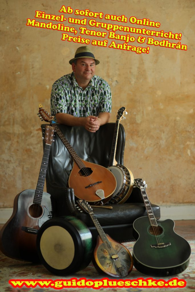 Online Unterricht für Mandoline, Tenor Banjo und Bodhran mit Guido Plüschke